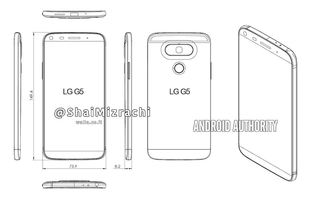 LG G5, erste Zeichnungen der Sprint-Variante