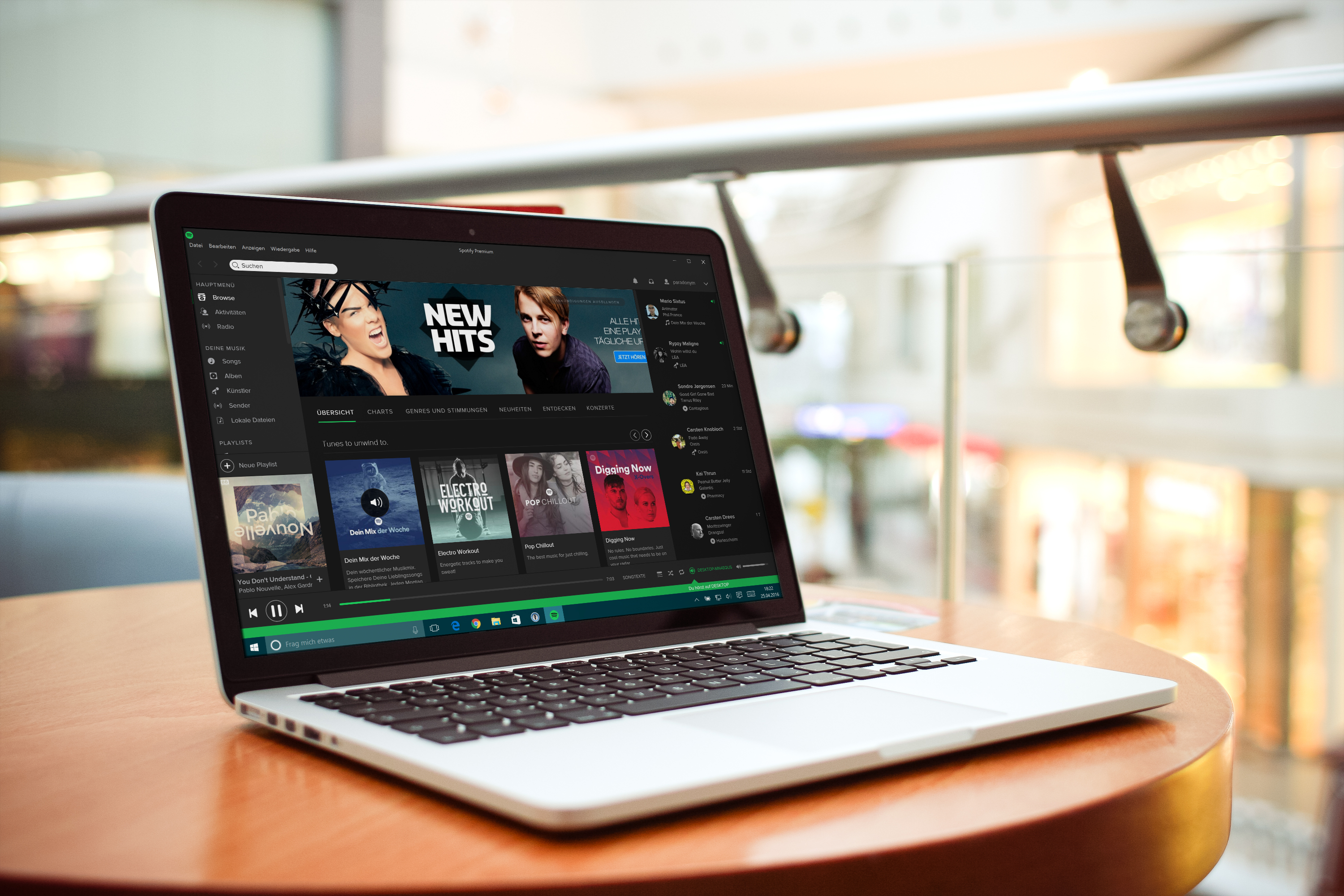 Spotify on a Laptop
