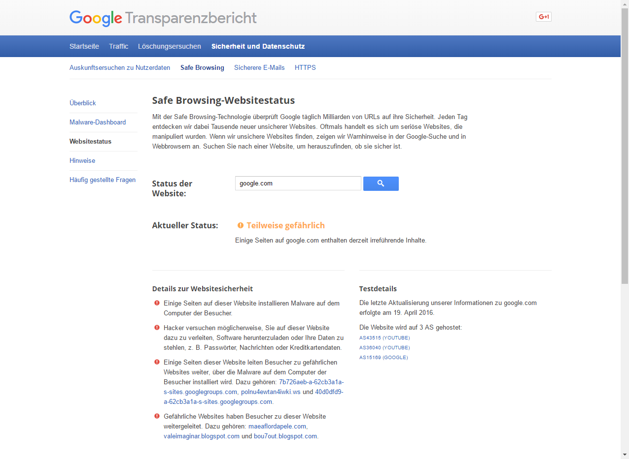 Google Safe Browsing stuft google.com ein